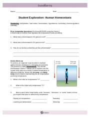 Homeostasis Gizmo.docx - Name Date Student Exploration ...
