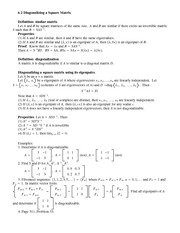 Lecture Notes on  Diagonalizing a Square Matrix