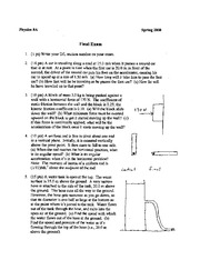 Physics 8A - Spring 2008 - Golightly - Final