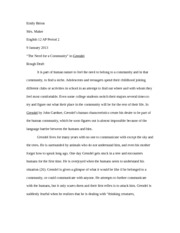 Grendel Essay  Emily Bitton Mrs Maker English  Ap Period    Grendel Essay  Emily Bitton Mrs Maker English  Ap Period   January   The Need For A Community In Grendel Rough Draft It Is Part Of Human  Nature Apa Format Sample Essay Paper also Samples Of Essay Writing In English  What Is The Thesis Statement In The Essay