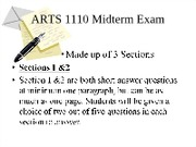 ARTS 1110 Midterm Exam Review