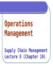 OML8 - Supply Chain Management