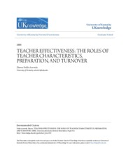 TEACHER EFFECTIVENESS- THE ROLES OF TEACHER CHARACTERISTICS PREP
