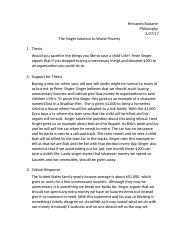 summary of singer solution to world poverty summary of singer  2 pages the singer solution to world poverty
