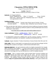 Chemistry 357Syllabus2009FINAL