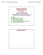 MOL CLASS 24 - Pharmaceuticals & Society (class notes S11)