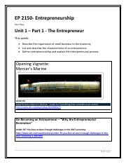 EP 2150 - Unit 1 The Entrepreneur Oultine and Activities1