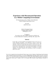 Experience with Disconnected Operation in a Mobile Computing Environment