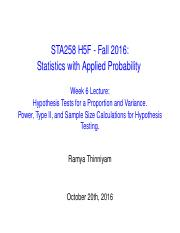 Week 6 Lecture - Hypothesis Tests for Proportion and Variance, Power, Sample Size Calculations(1).pd
