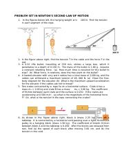 PROBLEM SET IN NEWTON'S SECOND LAW OF MOTION