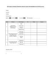 Borang Uat User Acceptance Test Docx Senarai Semak Proses