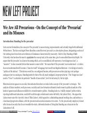 Seymour R. - We Are All Precarious - On the Concept of the 'Precariat' and its Misuses.pdf