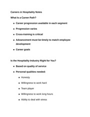 Careers in Hospitality Notes