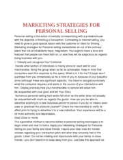 MARKETING STRATEGIES FOR PERSONAL SELLING