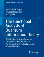 LNP0902 Ved Prakash Gupta, Prabha Mandayam, V. S. Sunder (auth.) - The Functional Analysis of Quantu