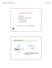 Organic Semiconductor Lasers notes