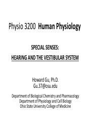 Lectures17 Physio 3200  Hearing and equilibrium- GH