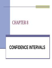 QMT 261 - CHAPTER 8 - CONFIDENCE INTERVALS