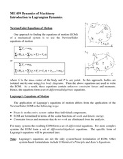 Introduction to Lagrangian Dynamics Review