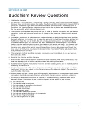 Buddhism Review Questions