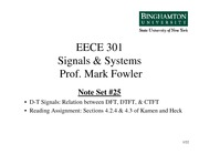 EECE 301 Note Set 25 DFT - DTFT - CTFT Relations