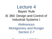 Lecture 4 Ch 2 Bayes Rule