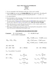 Exam 3 Practice Test Problems with Key