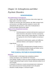 Chapter 14- schizophrenia and other psychotic disorders