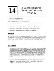 Chapter 14 - Macro Theory of the open economy