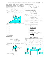 Forces, Friction, Inclines and Acceleration-solutions