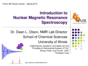 Chem 420 - Introduction to NMR - 4 Mar 2014