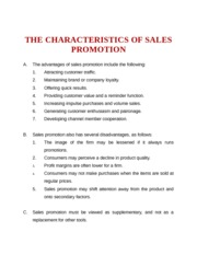 THE CHARACTERISTICS OF SALES PROMOTION