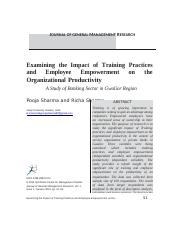 Examining the Impact of Training Practices and Employee Empowerment on the Organizational Productivi