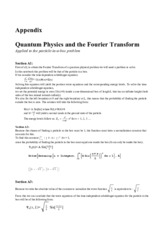 SCI 311 Project Fourier Transforms and quantum mechanics