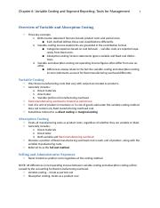Ch 6 Variable Costing and Segment Reporting NOTES