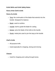 Knife Skills and Knife Safety Notes