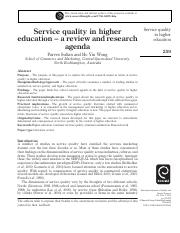 Service quality in higher