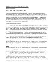 W6 Discussion War and the Everyday Life.docx