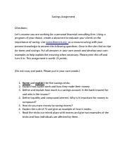 Savings Assignment - .docx