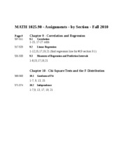 MATH 1025 Chapter 9 & 10 Assignments
