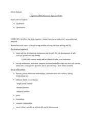 cognitive and psychosecual approach notes