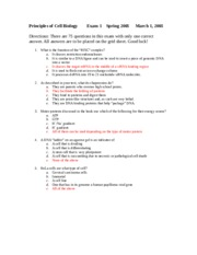 Practice Exam #1 Answers - Principles of Cell Biology Exam 1