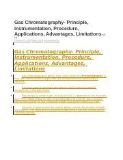 Gas Chromatography docx - Gas Chromatography Principle