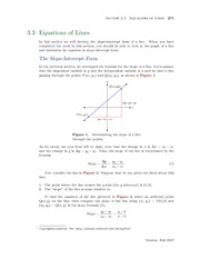 Section 3: Equations of Lines
