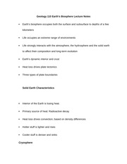 Geology 110 Earth Biosphere Lecture Notes