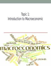 Topic 1 Introduction to Macroeconomics