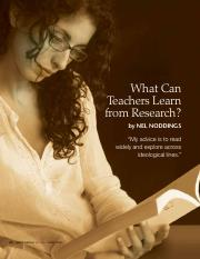 What can teachers learn from research