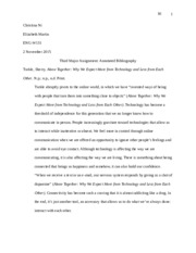 Third Major Assignment- Annotated Bibliography