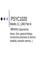 PSYC1020 (Sem 2, 2014) Part A Week 11 Memory (JM)