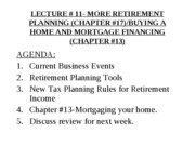 YU # 11- MORE RETIREMENT PLANNING (